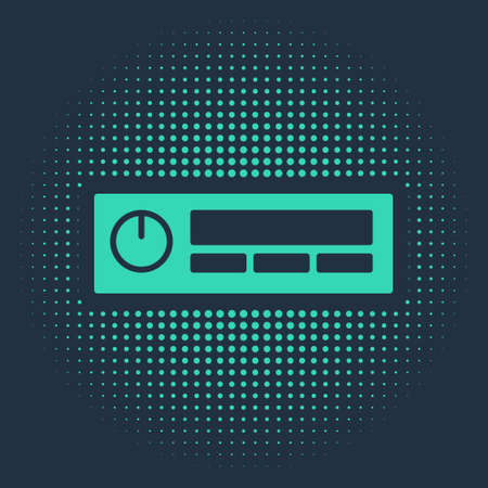 Green Car Audio icon isolated on blue background. Fm radio car audio icon. Abstract circle random dots. Vector