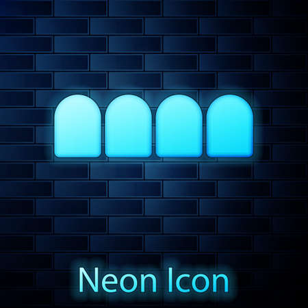 Glowing neon Dentures model icon isolated on brick wall background. Teeth of the upper jaw. Dental concept. Vector Vettoriali