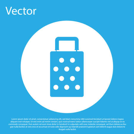 Blue Grater icon isolated on blue background. Kitchen symbol. Cooking utensil. Cutlery sign. White circle button. Vector 向量圖像