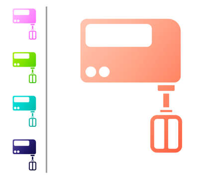 Coral Electric mixer icon isolated on white background. Kitchen blender. Set color icons. Vector Çizim