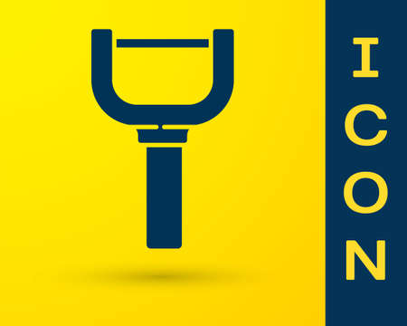 Blue Peeler icon isolated on yellow background. Knife for cleaning of vegetables. Kitchen item, appliance. Vector 向量圖像