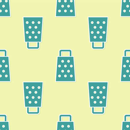 Green Grater icon isolated seamless pattern on yellow background. Kitchen symbol. Cooking utensil. Cutlery sign. Vector
