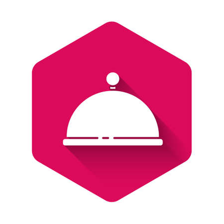 White Covered with a tray of food icon isolated with long shadow. Tray and lid. Restaurant cloche with lid. Kitchenware symbol. Pink hexagon button. Vector