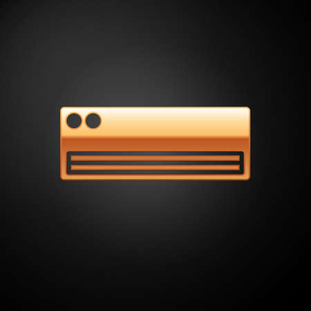Gold Air conditioner icon isolated on black background. Split system air conditioning. Cool and cold climate control system. Vector
