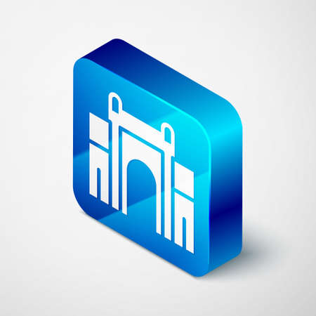 Isometric India Gate in New Delhi, India icon isolated on grey background. Gate way of India Mumbai. Blue square button. Vector