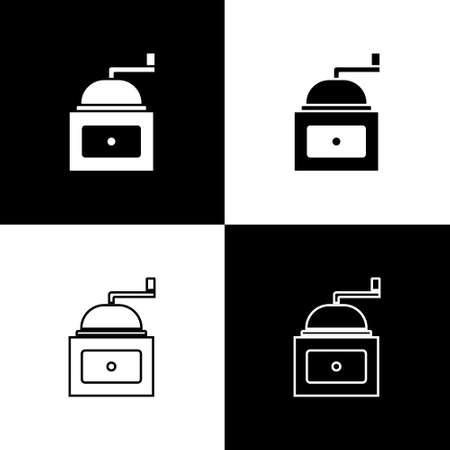 Set Manual coffee grinder icon isolated on black and white background. Vector Çizim