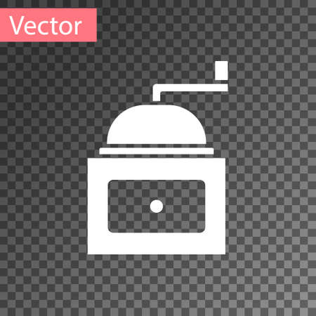 White Manual coffee grinder icon isolated on transparent background. Vector