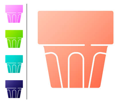 Coral Glass with water icon isolated on white background. Soda drink glass. Fresh cold beverage symbol. Set color icons. Vector