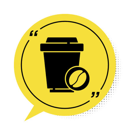 Black Coffee cup to go icon isolated on white background. Yellow speech bubble symbol. Vector