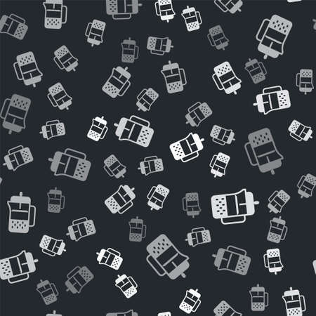 Grey French press icon isolated seamless pattern on black background. Vector