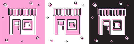 Set Coffee shop icon isolated on pink and white, black background. Vector Ilustração