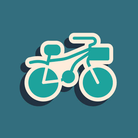 Green Bicycle icon isolated on green background. Bike race. Extreme sport. Sport equipment. Long shadow style. Vector
