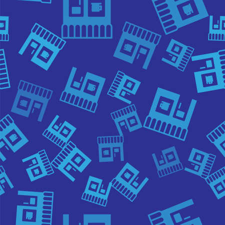 Blue Coffee shop icon isolated seamless pattern on blue background. Vector Illustration