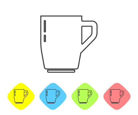 Grey line Coffee cup icon isolated on white background. Tea cup. Hot drink coffee. Set icons in color rhombus buttons. Vector