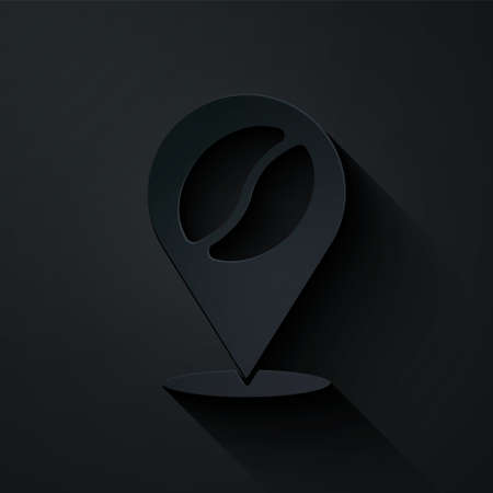 Paper cut Location with coffee bean icon isolated on black background. Paper art style. Vector