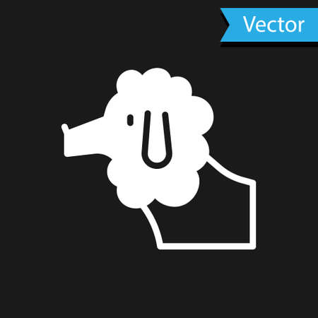 White French poodle dog icon isolated on black background. Vector Illustration