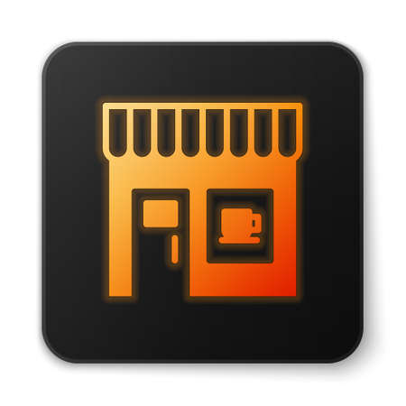 Orange glowing neon Coffee shop icon isolated on white background. Black square button. Vector