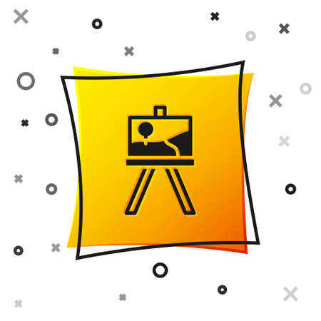 Black Wood easel or painting art boards icon isolated on white background. Yellow square button. Vector