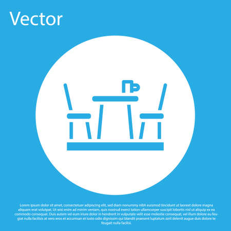Blue French cafe icon isolated on blue background. Street cafe. Table and chairs. White circle button. Vector