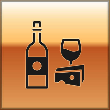 Black Wine bottle with glass and cheese icon isolated on gold background. Romantic dinner. Vector Illustration