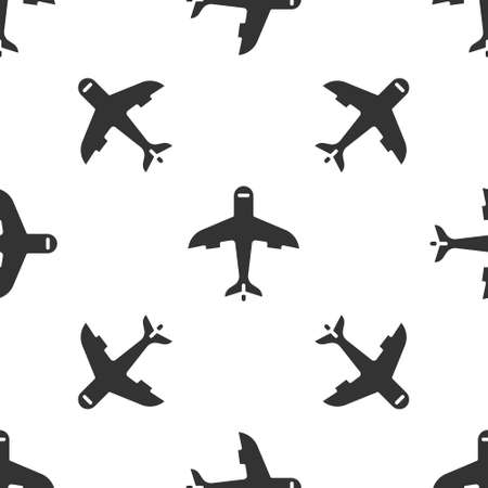 Grey Plane icon isolated seamless pattern on white background. Flying airplane icon. Airliner sign. Vector