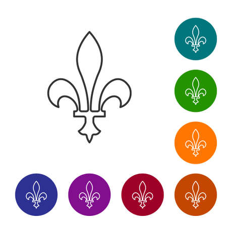 Black line Fleur De Lys icon isolated on white background. Set icons in color circle buttons. Vector