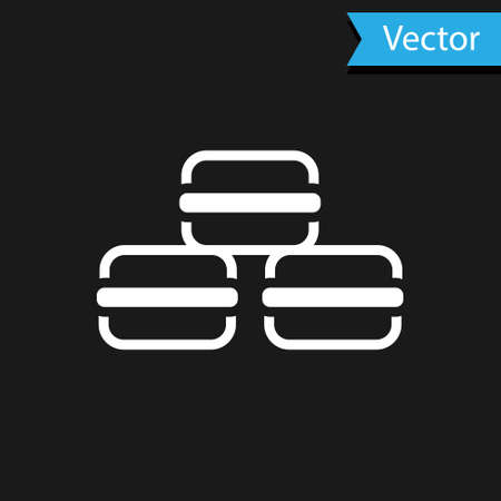White Macaron cookie icon isolated on black background. Macaroon sweet bakery. Vector