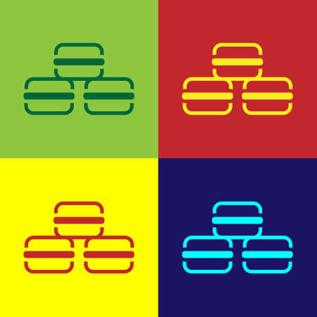 Pop art Macaron cookie icon isolated on color background. Macaroon sweet bakery. Vector Illustration