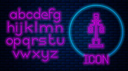Glowing neon Street light system icon isolated on brick wall background. Neon light alphabet. Vector
