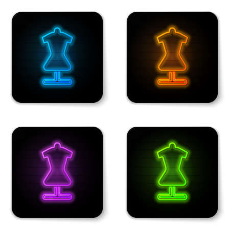 Glowing neon Mannequin icon isolated on white background. Tailor dummy. Black square button. Vector