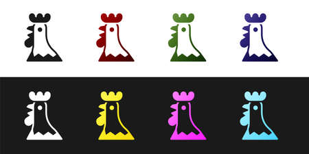 Set French rooster icon isolated on black and white background. Vector