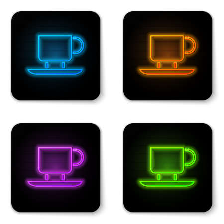 Glowing neon Coffee cup icon isolated on white background. Tea cup. Hot drink coffee. Black square button. Vector