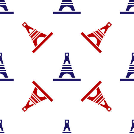 Blue and red Eiffel tower icon isolated seamless pattern on white background. France Paris landmark symbol. Vector