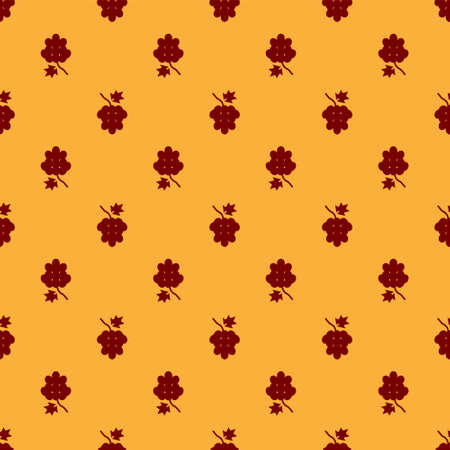 Red Grape fruit icon isolated seamless pattern on brown background. Vector