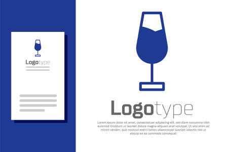 Blue Wine glass icon isolated on white background. Wineglass sign. design template element. Vector Illustration