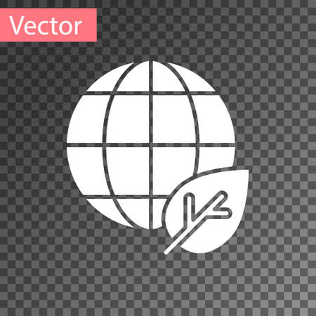 White Earth globe and leaf icon isolated on transparent background. World or Earth sign. Geometric shapes. Environmental concept. Vector