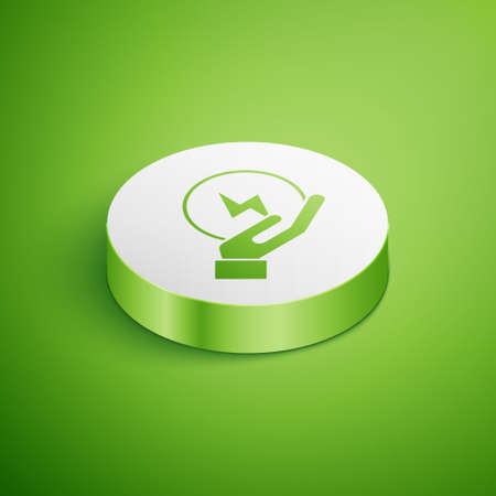 Isometric Lightning bolt icon isolated on green background. Flash sign. Charge flash icon. Thunder bolt. Lighting strike. White circle button. Vector