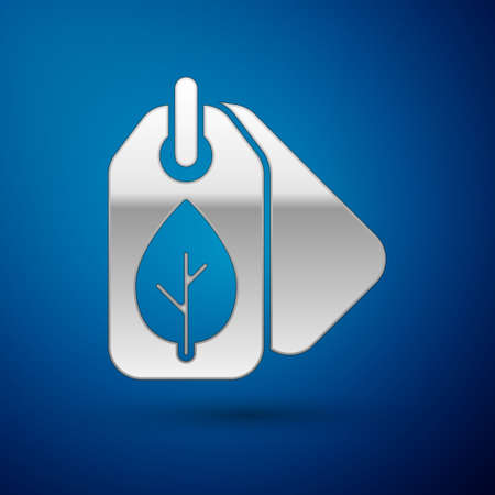 Silver Tag with leaf symbol icon isolated on blue background. Banner, label, tag, logo, sticker for eco green. Vector Illustration