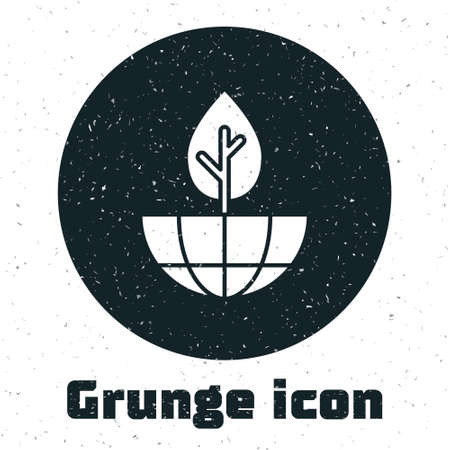 Grunge Earth globe and plant icon isolated on white background. World or Earth sign. Geometric shapes. Environmental concept. Monochrome vintage drawing. Vector Illustration
