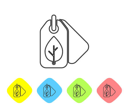 Grey line Tag with leaf symbol icon isolated on white background. Banner, label, tag, logo, sticker for eco green. Set icons in color rhombus buttons. Vector