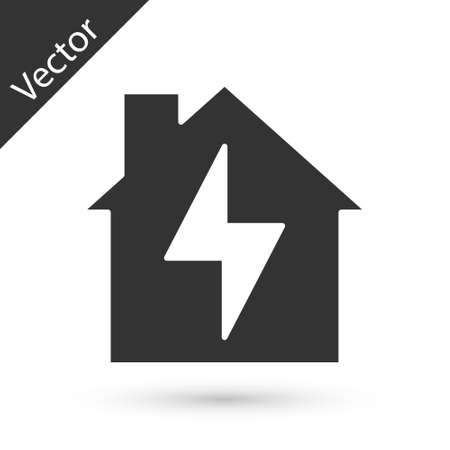 Grey House and lightning icon isolated on white background. Home energy. Vector
