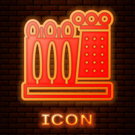 Glowing neon Salvador Dali museum in Figueres, Spain icon isolated on brick wall background. Vector