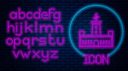 Glowing neon Montjuic castle icon isolated on brick wall background. Barcelona, Spain. Neon light alphabet. Vector