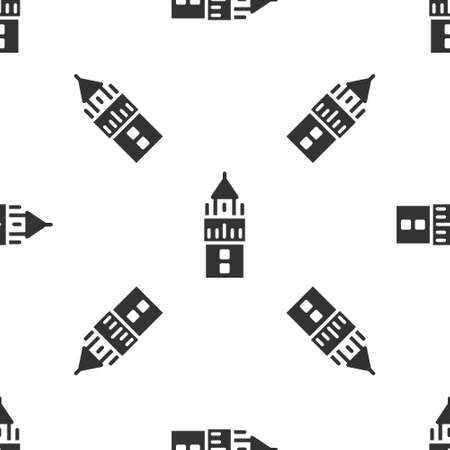 Grey Giralda in Seville Spain icon isolated seamless pattern on white background. Vector Çizim