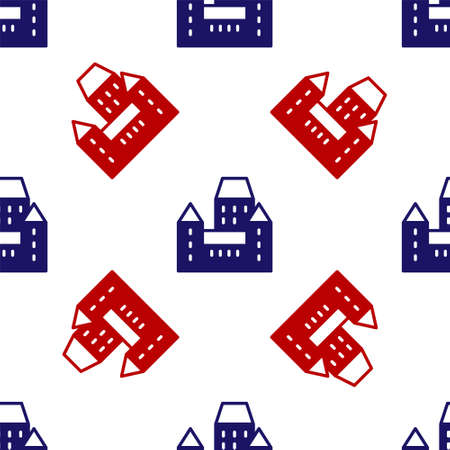 Blue and red Chateau Frontenac hotel in Quebec City, Canada icon isolated seamless pattern on white background. Vector