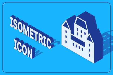 Isometric Chateau Frontenac hotel in Quebec City, Canada icon isolated on blue background. Vector