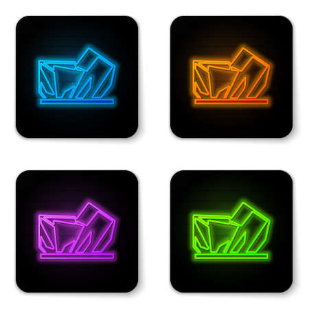 Glowing neon Royal Ontario museum in Toronto, Canada icon isolated on white background. Black square button. Vector