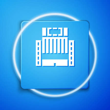 White Hotel Ukraina building icon isolated on blue background. Blue square button. Vector