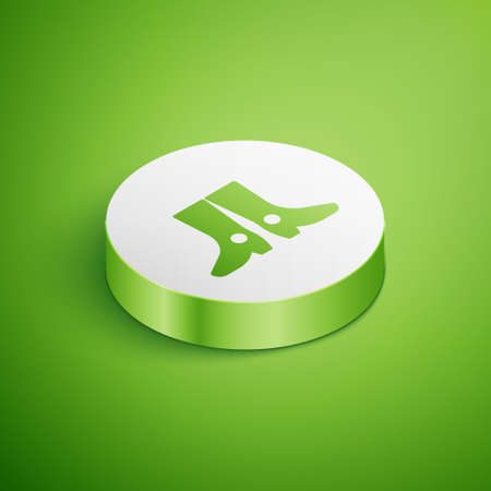 Isometric Ukrainian national footwear icon isolated on green background. Traditional ethnic boots. White circle button. Vector