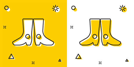 Black Ukrainian national footwear icon isolated on yellow and white background. Traditional ethnic boots. Random dynamic shapes. Vector